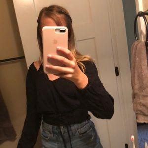 Hollister women's teens waist tie black top